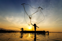 Image Is Silhouette. Fishermen...