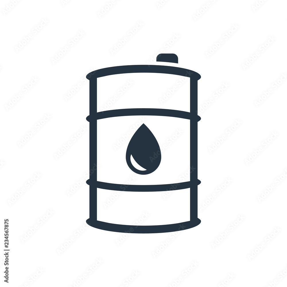 Fototapety, obrazy: barrel, drop isolated line icon on white background, oil industry