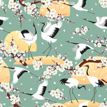Seamless Pattern With Japanese Cranes And Blossoms