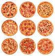 canvas print picture - Big set of the best Italian pizzas isolated on white background