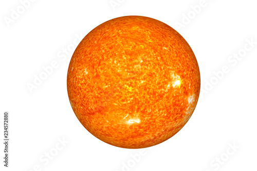 The Sun. The main star of Solar system isolated on white. Science fiction. Elements of this image were furnished by NASA.