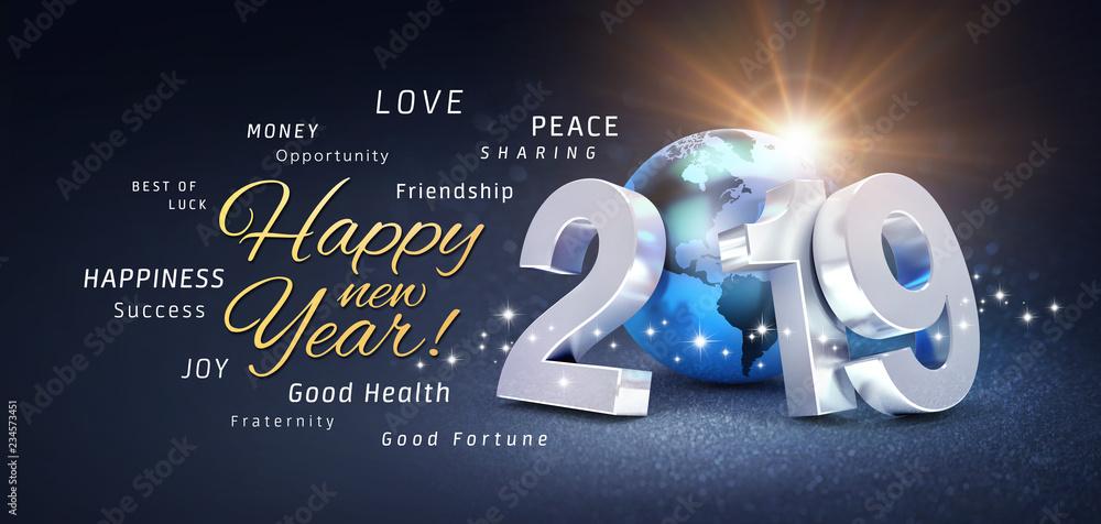 Fototapeta New Year 2019 Greeting card wishing the best