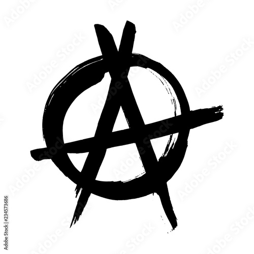 Valokuvatapetti Anarchy hand drawn brush vector symbol