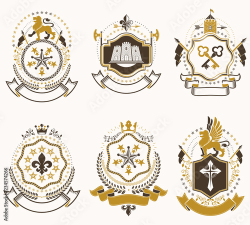 Fototapety, obrazy: Set of luxury heraldic vector templates. Collection of vector symbolic blazons made using graphic elements, royal crowns, medieval castles, armory and religious crosses.