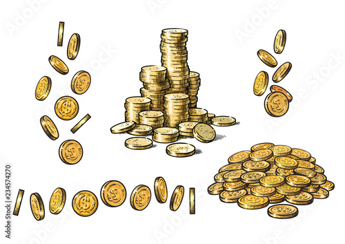 Fototapeta Set of gold coins in different positions in sketch style. Falling dollars, pile of cash, stack of money. Vector. obraz