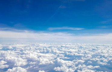 Blue sky with many white clouds background