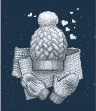 Cozy Winter Sketch With A Scarf, Mittens And A Hat With A Pompon