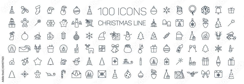 Fototapety, obrazy: Christmas line web 100 icons set on white background