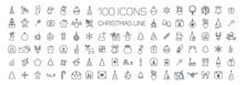 Christmas Line Web 100 Icons Set On White Background