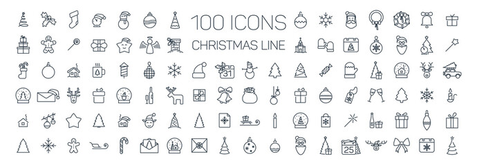 Christmas line web 100 icons set on white background