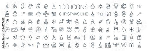 Photo  Christmas line web 100 icons set on white background