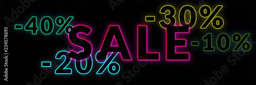 Fotografía  Neon sale banner with 10% 20% 30% 40% 50% discount