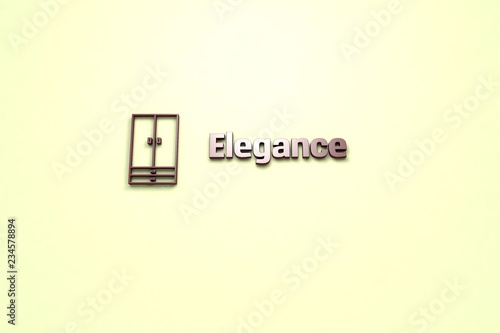 Fotografía  Text Elegance with brown 3D illustration and light background