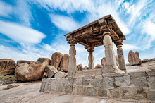 Beautiful View Of The Amazing Hampi's Ruins. Hampi, Also Referred To As The Group Of Monuments At Hampi, Is A UNESCO World Heritage Site Located In East-central Karnataka, India.