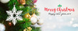 canvas print picture - Christmas and Happy new year 2019 on blurred bokeh christmas tree background with snowfall.