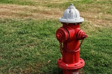 Red And White Fire Hydrant.