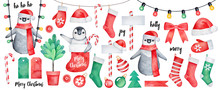 Big Winter Collection With Happy Baby Penguin Character And Various Holiday Signs Like Fir Tree, Candy Cane, Festive Toys, Stockings To Hang. Watercolour Drawing On White, Cutout Clip Art Elements.