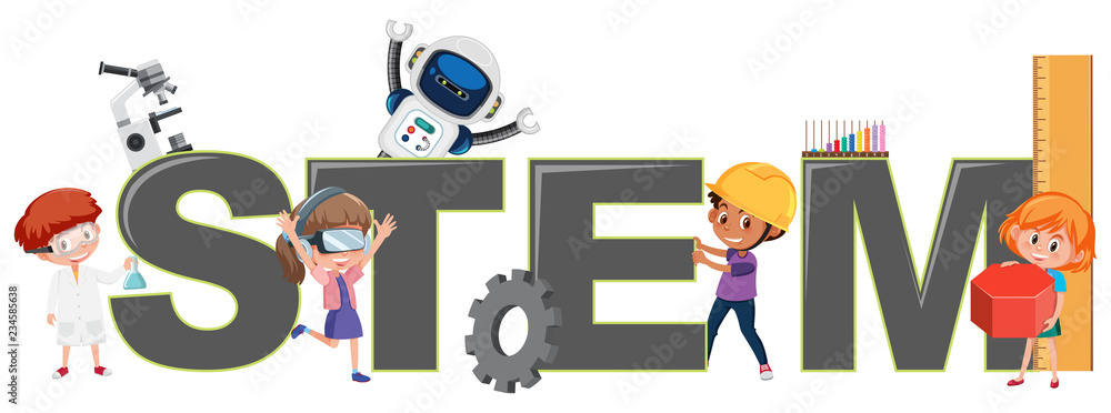 Fototapeta Children with STEM logo