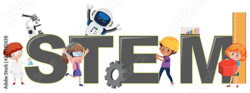 Obraz Children with STEM logo - fototapety do salonu