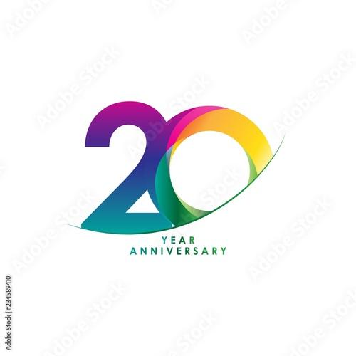 Photo  20 Year Anniversary Vector Template Design Illustration