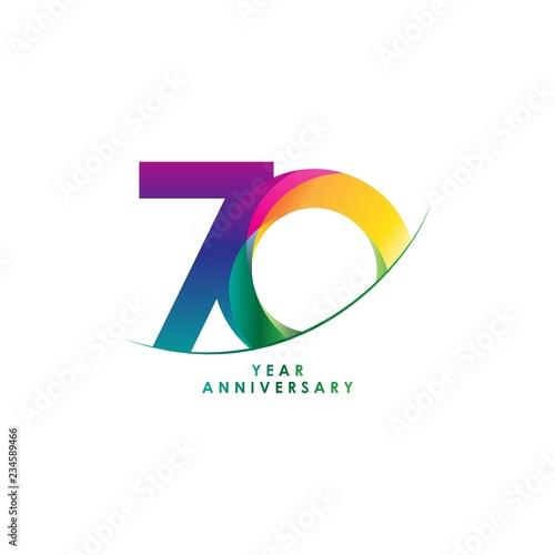 Fotografie, Obraz  70 Year Anniversary Vector Template Design Illustration