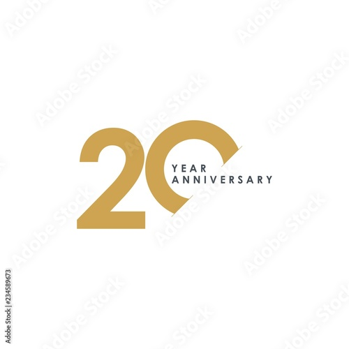 Photo  20 Year Anniversary Vector Template Design Illustration