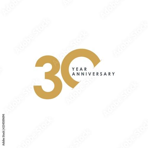 Fotografia 30 Year Anniversary Vector Template Design Illustration