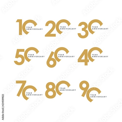 Year Anniversary Set Vector Template Design Illustration Fototapeta