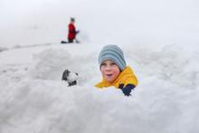 Snow Fight. Joyful Boy Throws ...