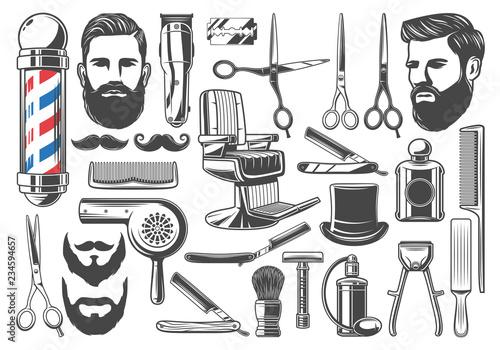 Barbershop haircut and shave equipment icons - fototapety na wymiar