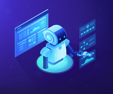 Modern Robot Working With Analytics Data Pie Charts And Graphs. Bot Marketing, Automated Data Analysis, Automated Data Collection Concept. Ultraviolet Neon Vector Isometric 3D Illustration.