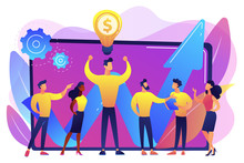 Company Enployees And Leader Having Successful Money-making Idea. Intellectual Capital, Company Human Resources, Money-making Sources Concept. Bright Vibrant Violet Vector Isolated Illustration