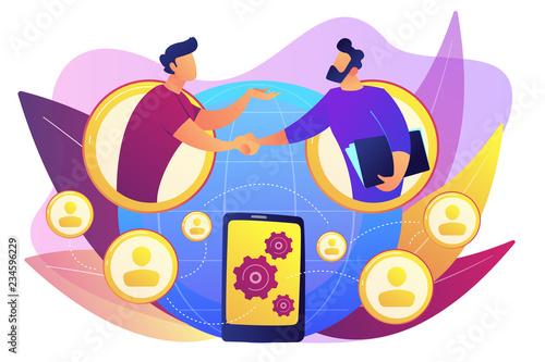 Fototapeta Businessmen handshaking through smartphone
