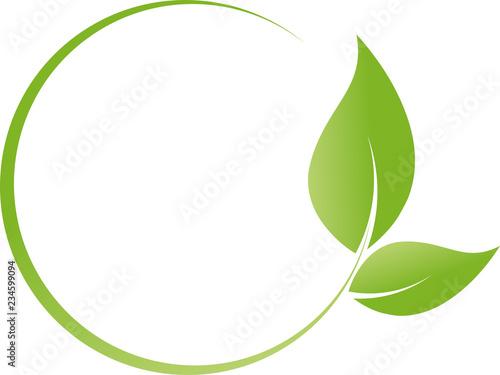 Fototapeta Blätter, Pflanzen, Kreise, Heilpraktiker und Vegan Logo obraz