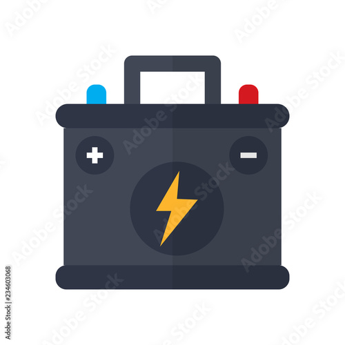 car battery icon in flat style isolated vector illustration on white transparent Canvas Print