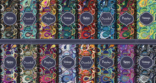 Recess Fitting Pattern Set of seamless patterns in vintage paisley style.