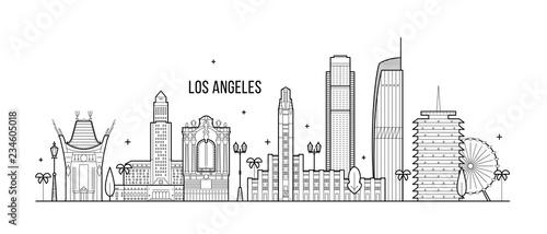 Los Angeles skyline USA big city buildings vector Wallpaper Mural
