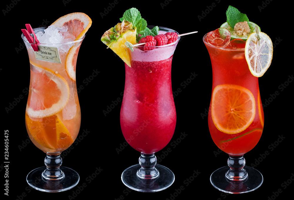 Fotografie, Obraz The original fruit cocktail on a black background