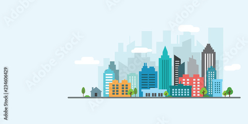 landscape city vector - 234606429