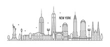 New York Skyline USA Big City Buildings Vector