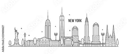 Fototapeta New York skyline USA big city buildings vector obraz