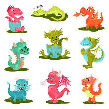 Flat Vector Set Of Cute Baby Dragons. Mythical Creatures. Fantastic Animals With Wings, Horns And Long Tails