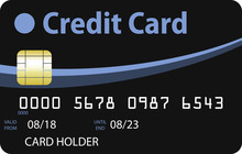 Black Credit Card With Blue And Sky Blue Curves. Valid Until 2023