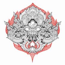 Hand Drawn Thai Dragon Or Serp...