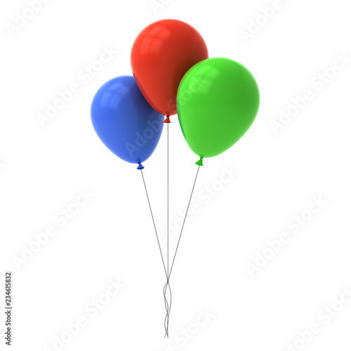 Fotografie, Obraz  Bunch of colorful glossy balloons isolated over white background with window ref