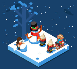 Winter games isometric kids making snowman snowball winter playing sleigh snow background flat design vector illustration