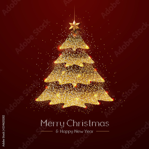 Fototapeta Christmas poster with golden Christmas tree. Christmas greeting card obraz