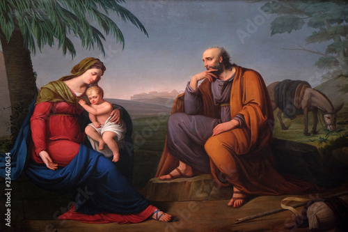 Canvas Print Holy Family, altarpiece in the Basilica of Saint Frediano, Lucca, Tuscany, Italy