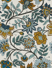 Panel Szklany Na drzwi Seamless retro mandala and paisley floral pattern - navy and mustard