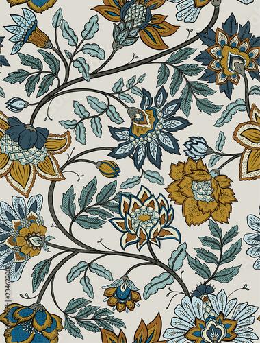 Seamless retro mandala and paisley floral pattern - navy and mustard